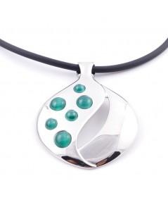 Gummi-Halskette mit Metall & Katzenaugen-Steinanhänger