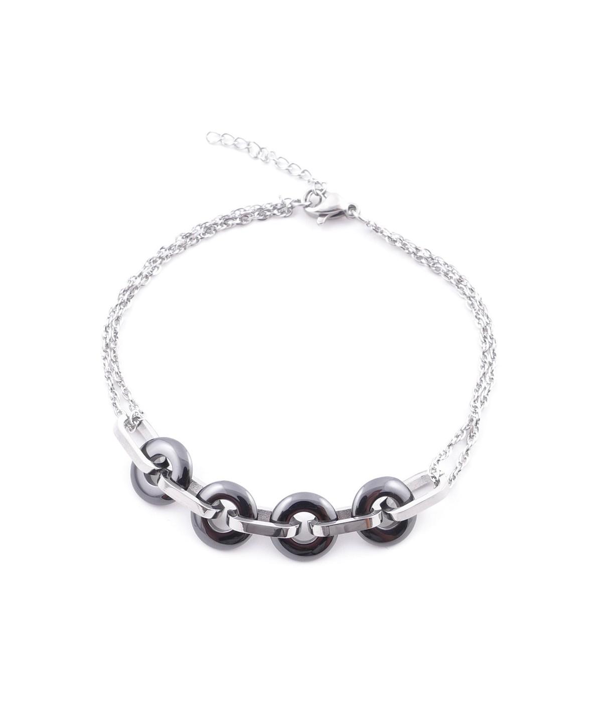 Elegantes Stahl- und Keramikarmband für Frauen