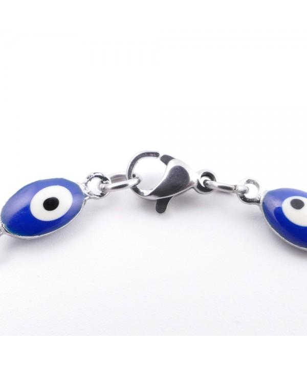 Stainless steel multicoloured evil eye bracelet